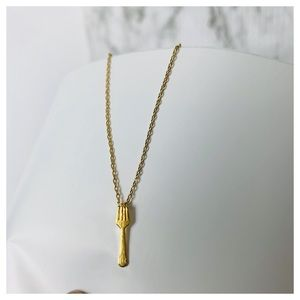 GOLD TONE FORK NECKLACE